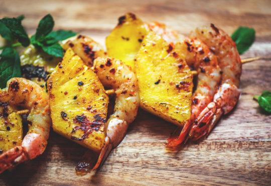 Ananas-Garnelen Spieße