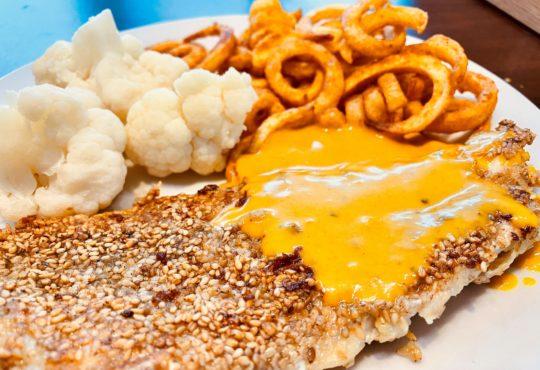 Rotbarsch in Sesamkruste