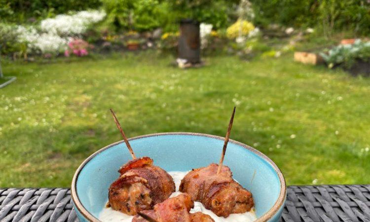 Lachs-Bacon Würfel